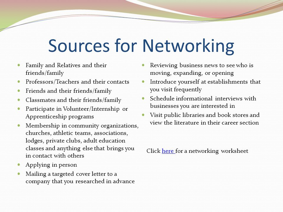 Sources for Networking