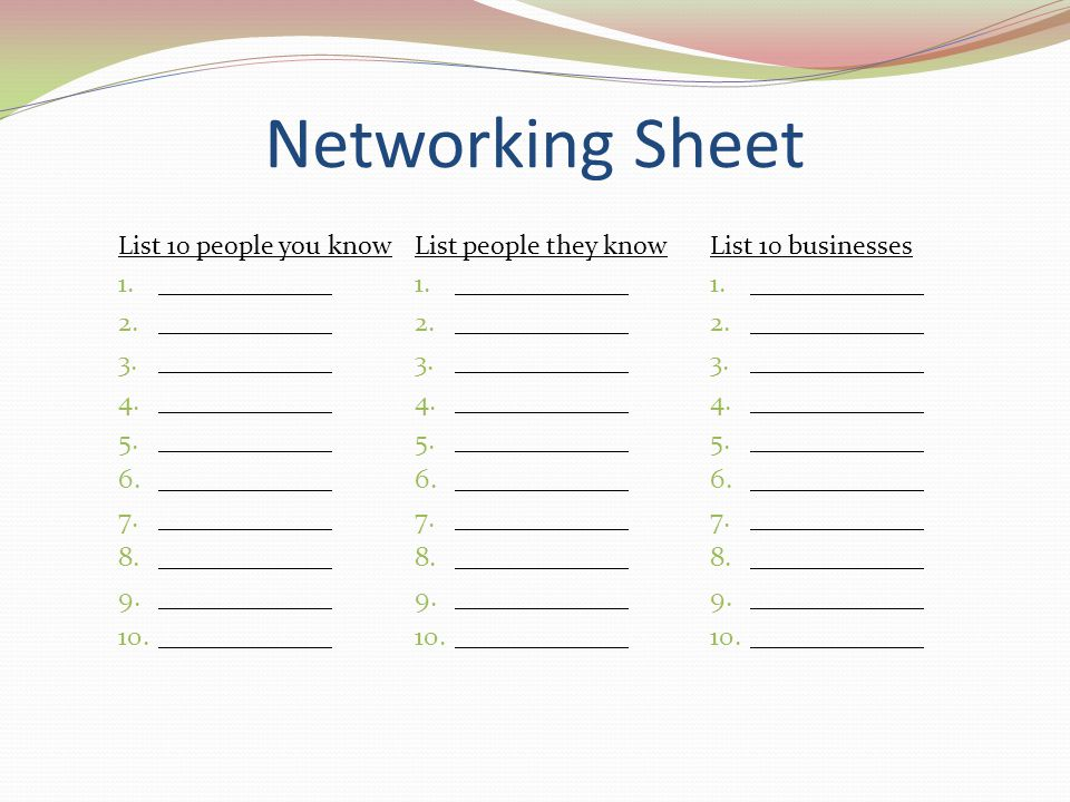 Networking Sheet List 10 people you know List people they know