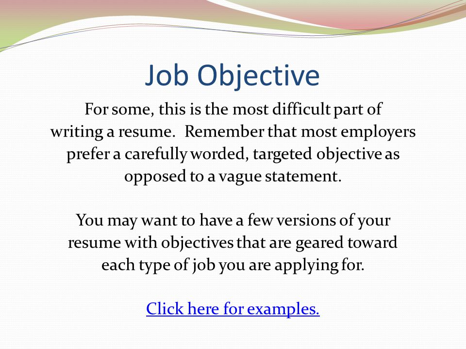 Job Objectives  OloschurchtpCom