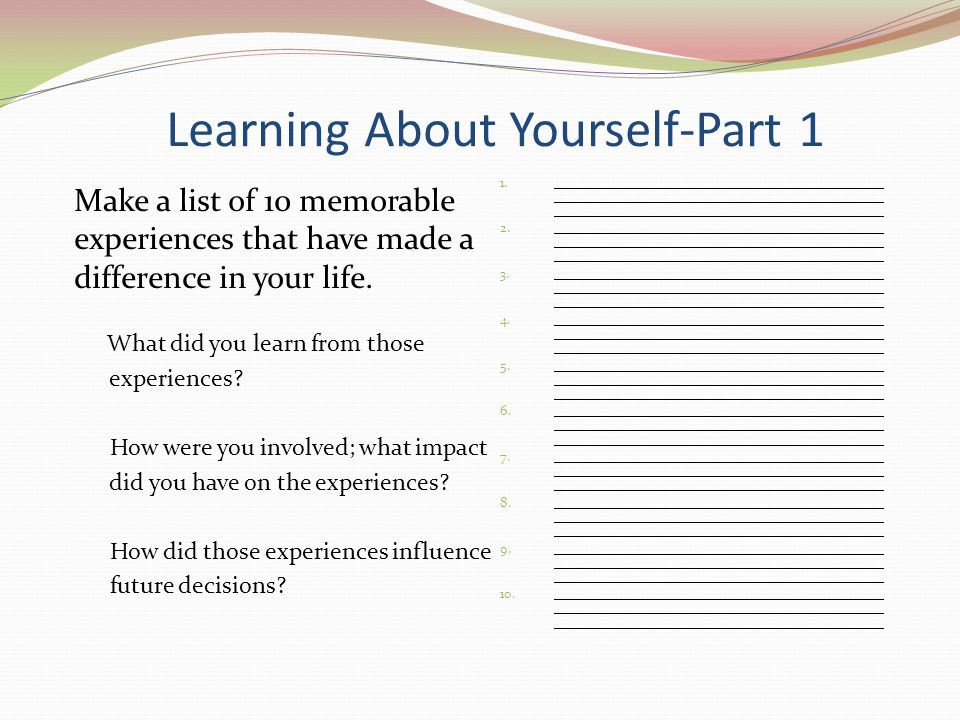 Learning About Yourself-Part 1