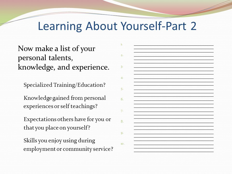Learning About Yourself-Part 2