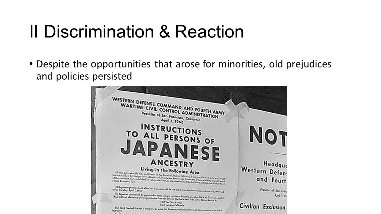 II Discrimination & Reaction