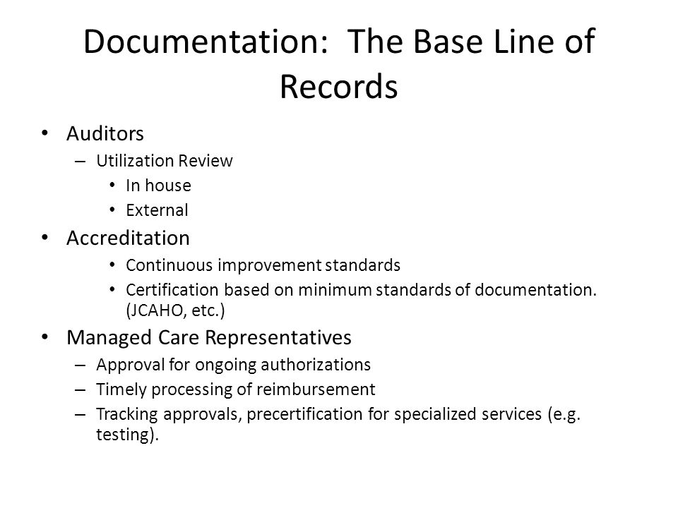 Documentation: The Base Line of Records