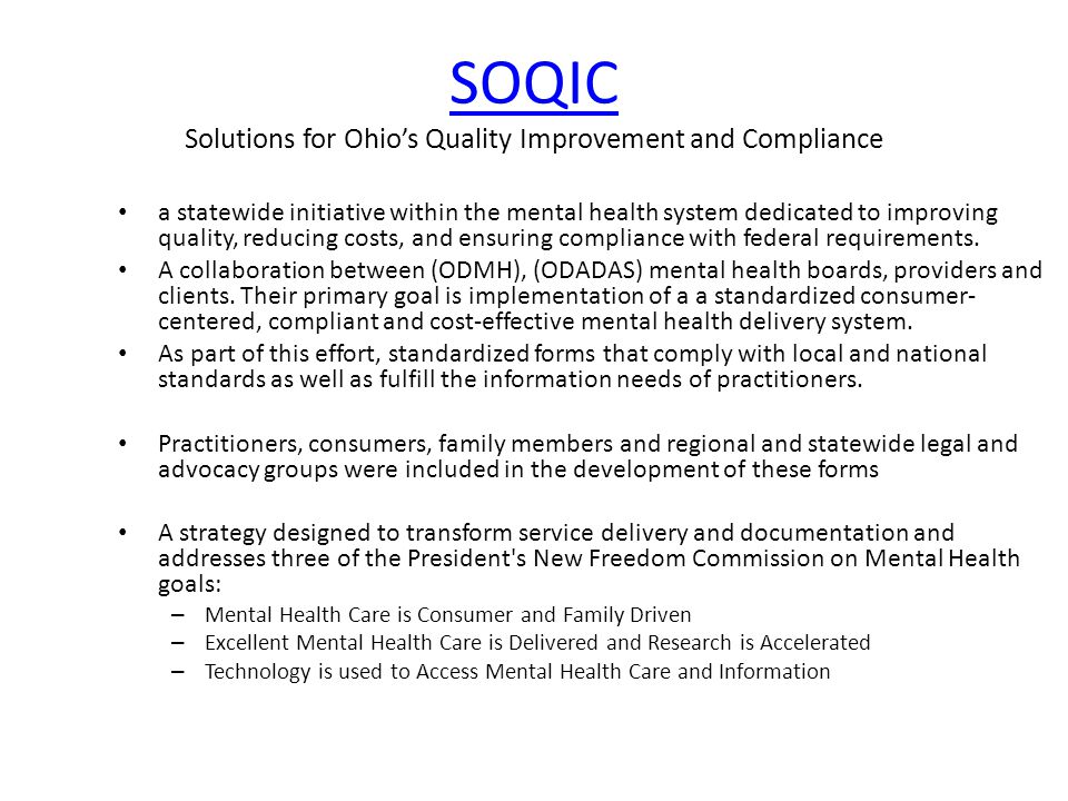SOQIC Solutions for Ohio's Quality Improvement and Compliance