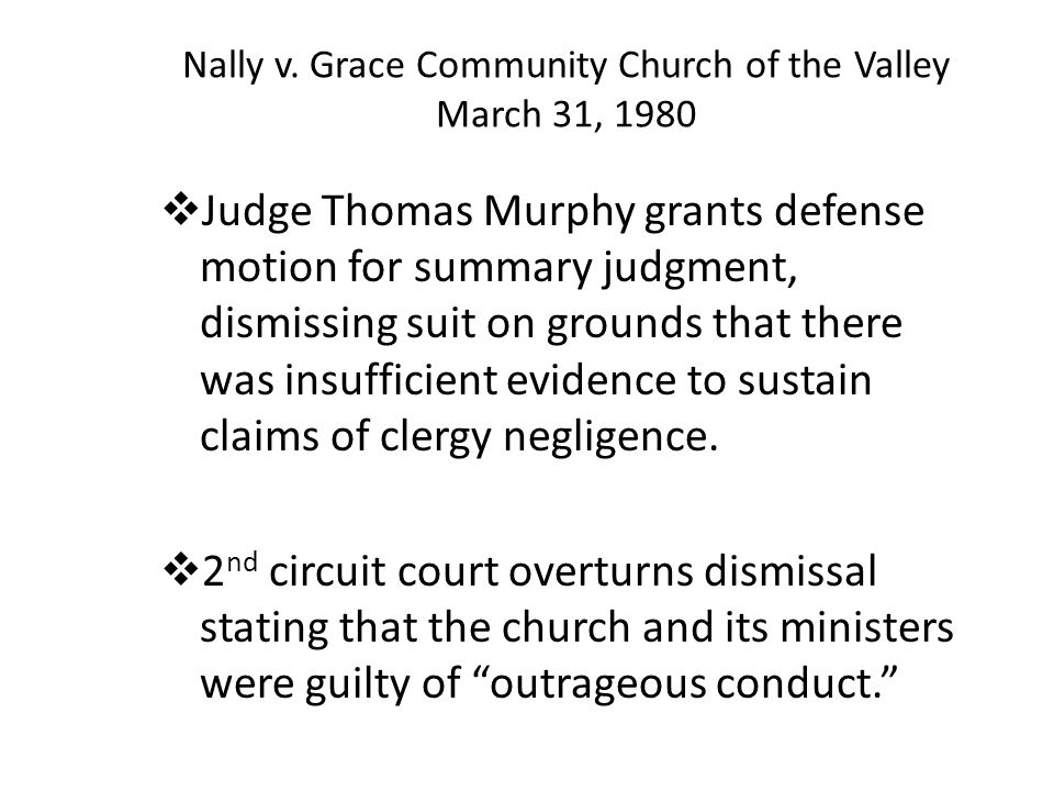 Nally v. Grace Community Church of the Valley March 31, 1980