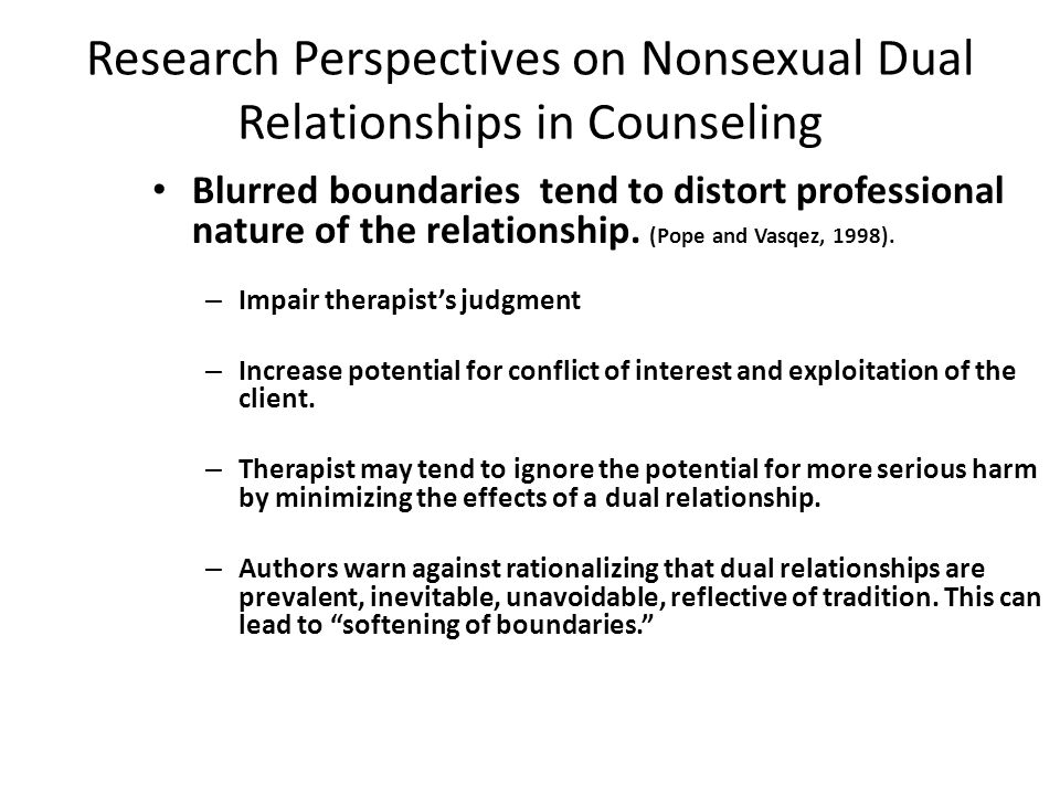 Research Perspectives on Nonsexual Dual Relationships in Counseling