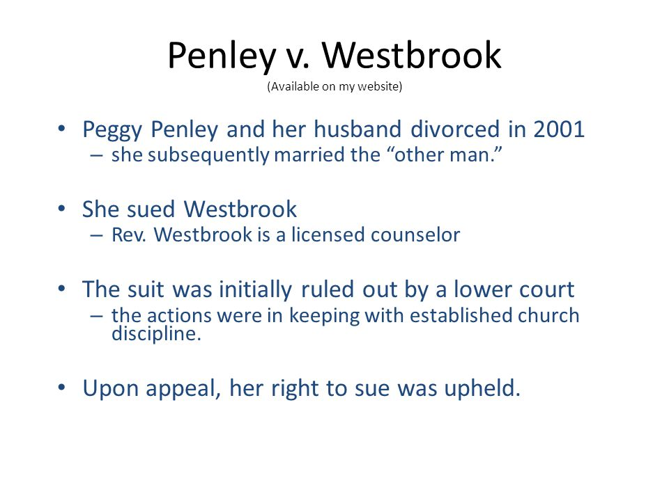 Penley v. Westbrook (Available on my website)