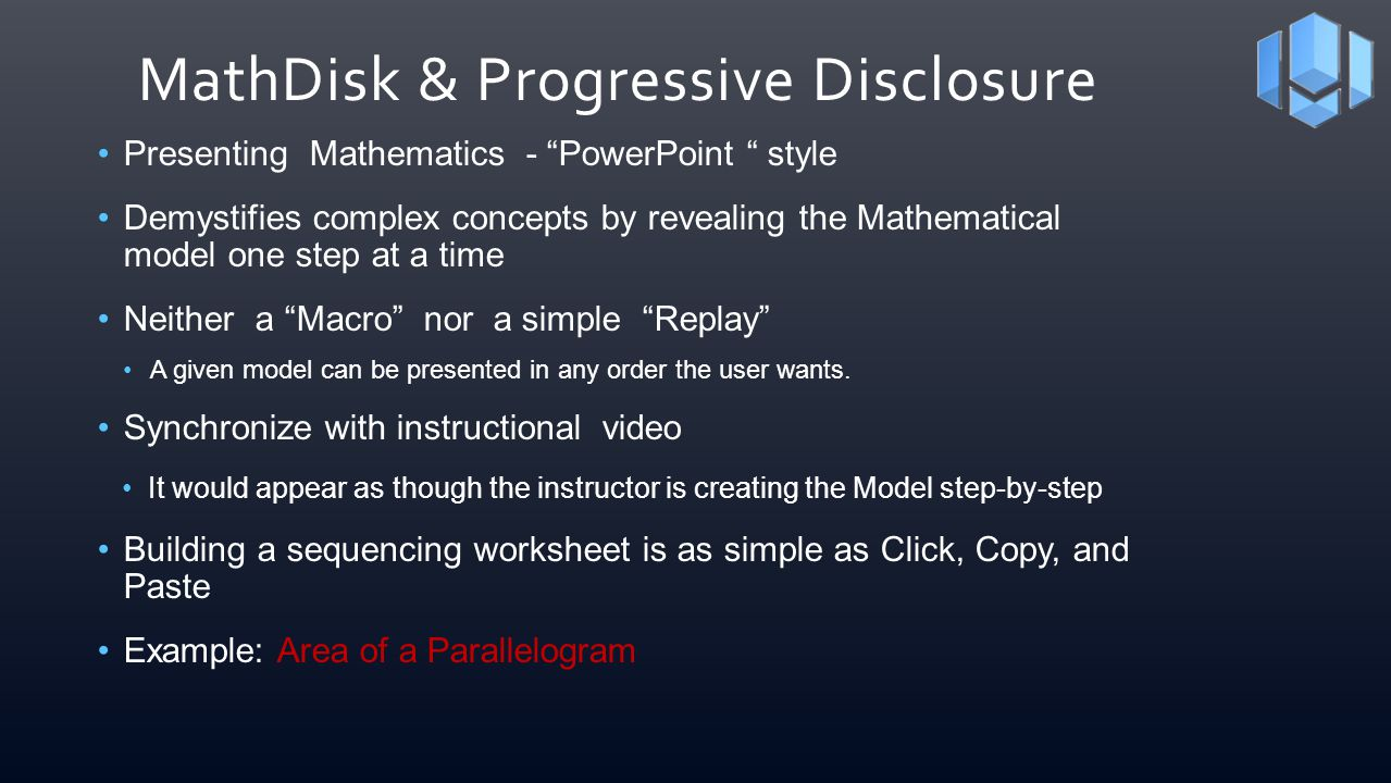 MathDisk & Progressive Disclosure