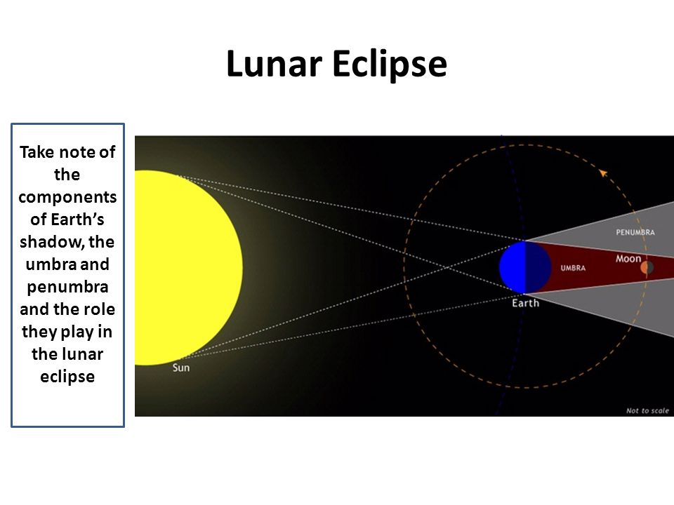 Lunar Eclipse Take note of the components of Earth's shadow, the umbra and penumbra and the role they play in the lunar eclipse.