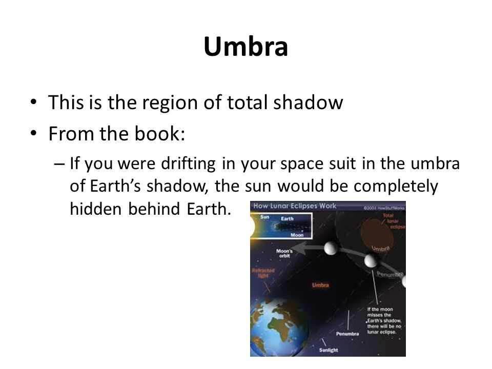 Umbra This is the region of total shadow From the book: