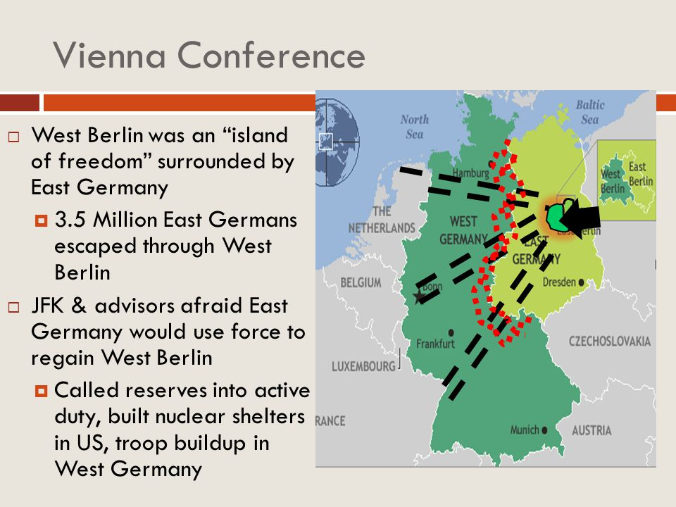 Vienna Conference West Berlin was an island of freedom surrounded by East Germany. 3.5 Million East Germans escaped through West Berlin.