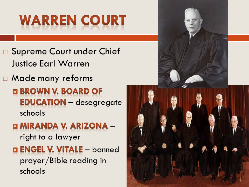 Warren Court Supreme Court under Chief Justice Earl Warren
