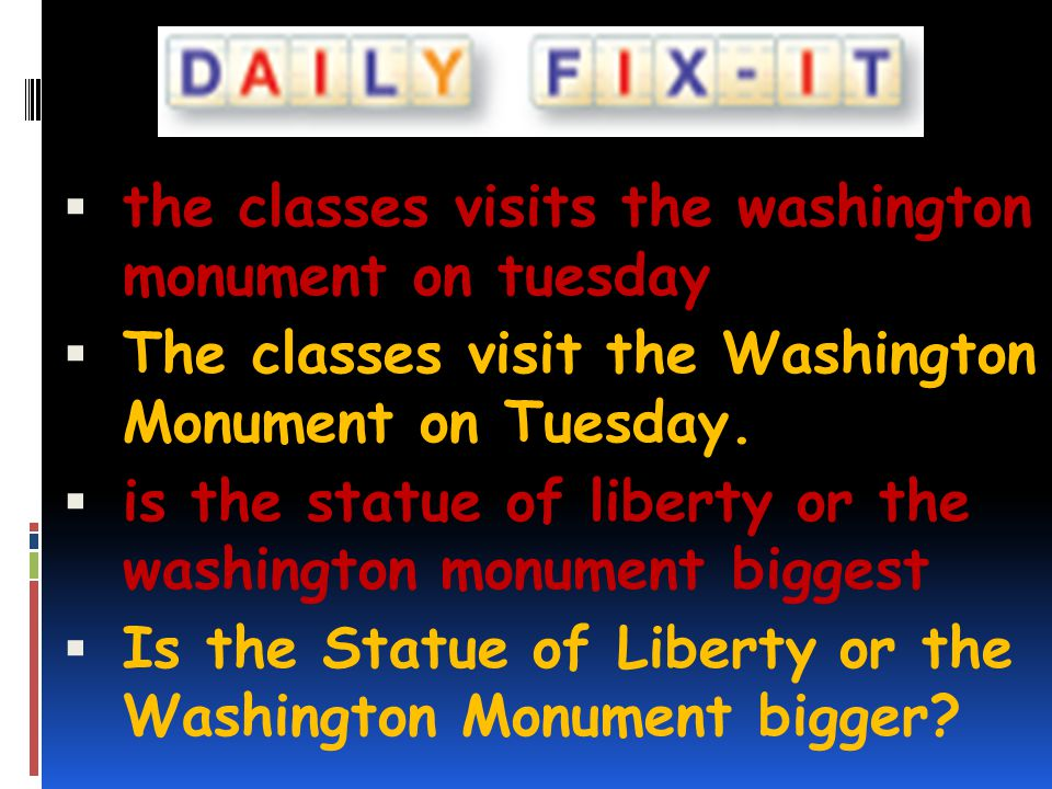 the classes visits the washington monument on tuesday