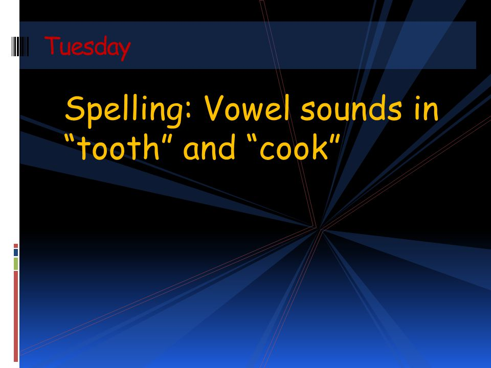 Spelling: Vowel sounds in tooth and cook