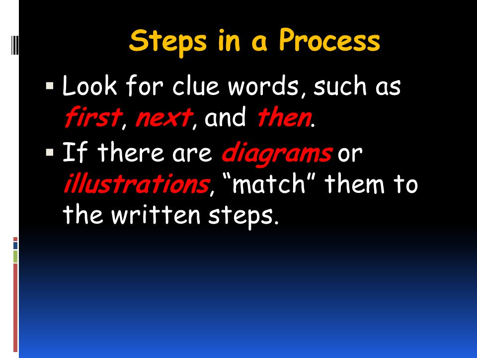 Steps in a Process Look for clue words, such as first, next, and then.