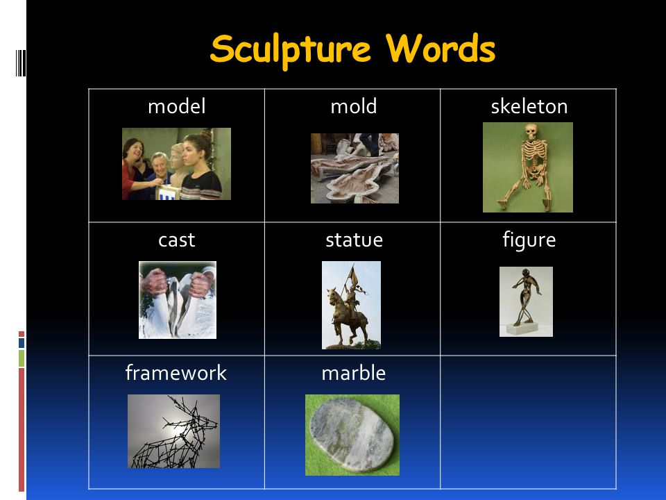 Sculpture Words model cast statue framework mold skeleton figure