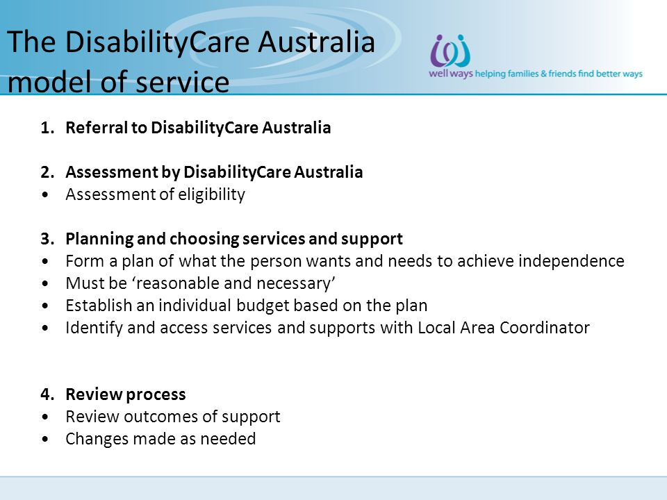 The DisabilityCare Australia model of service