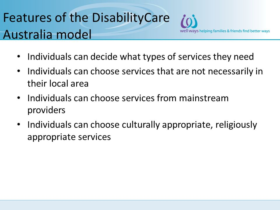Features of the DisabilityCare Australia model