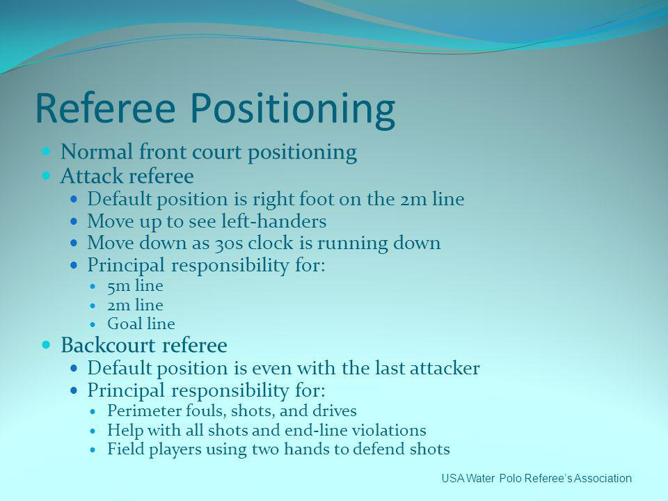 Referee Positioning Normal front court positioning Attack referee