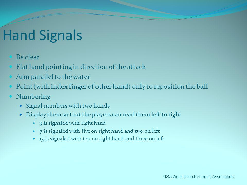 Hand Signals Be clear Flat hand pointing in direction of the attack