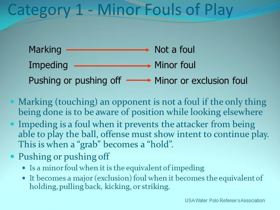 Category 1 - Minor Fouls of Play