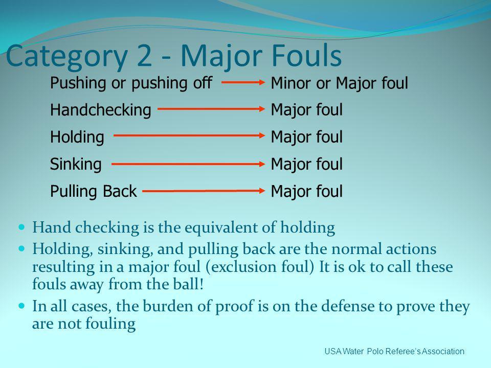 Category 2 - Major Fouls Pushing or pushing off Minor or Major foul