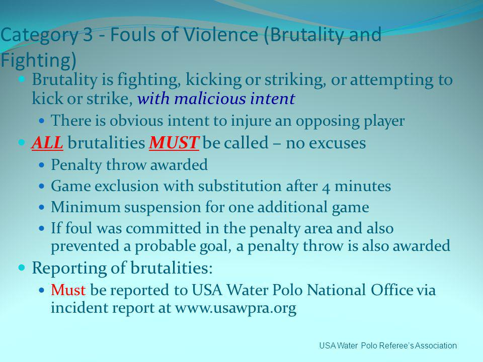 Category 3 - Fouls of Violence (Brutality and Fighting)