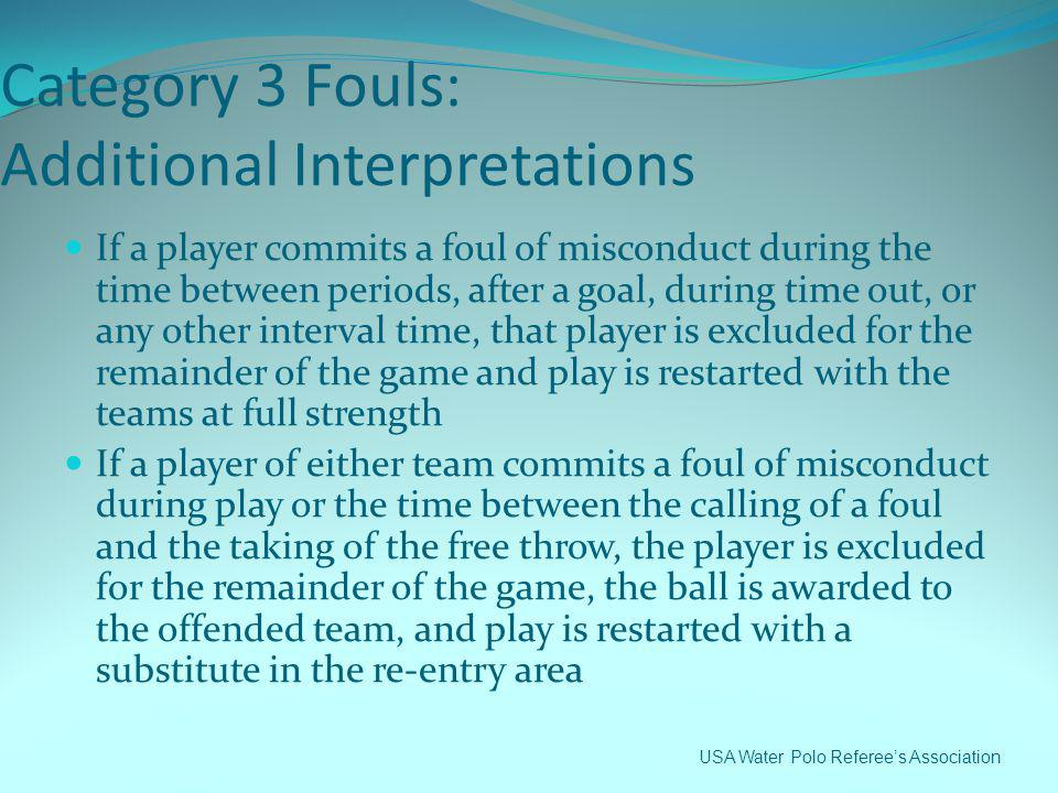 Category 3 Fouls: Additional Interpretations