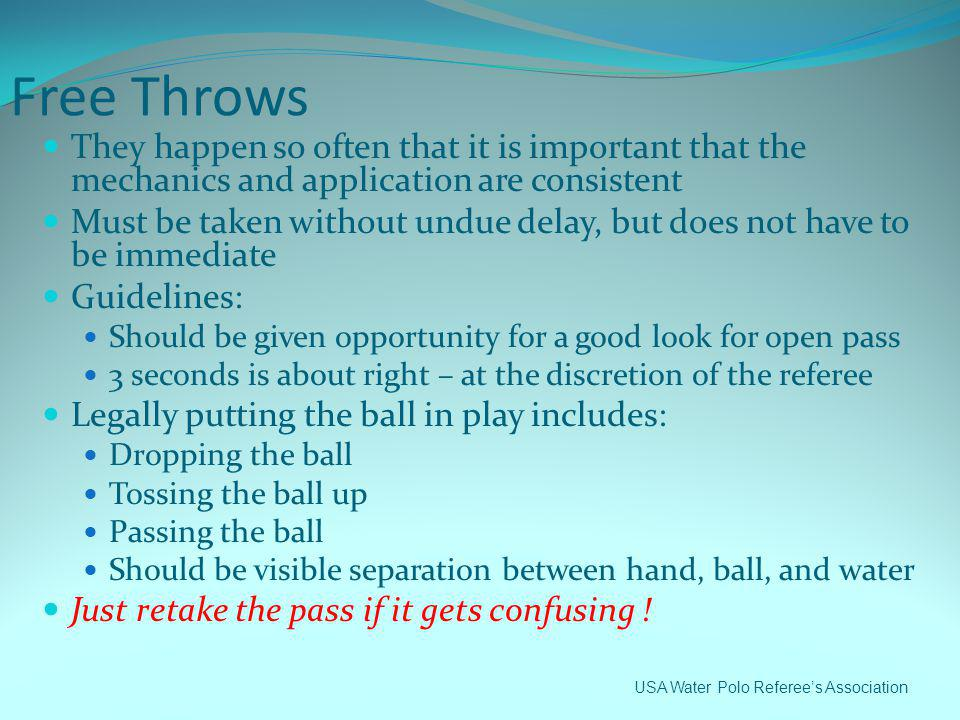 Free Throws They happen so often that it is important that the mechanics and application are consistent.