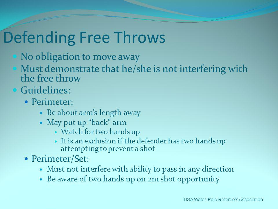 Defending Free Throws No obligation to move away