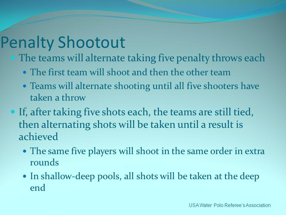 Penalty Shootout The teams will alternate taking five penalty throws each. The first team will shoot and then the other team.