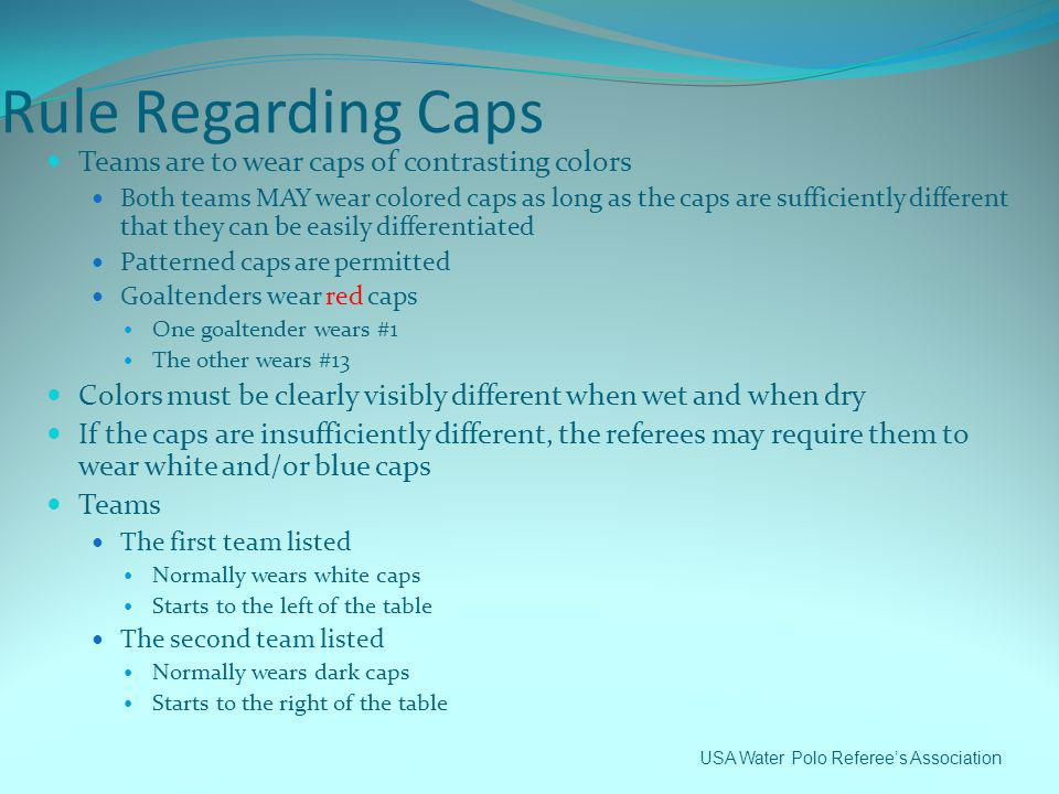 Rule Regarding Caps Teams are to wear caps of contrasting colors