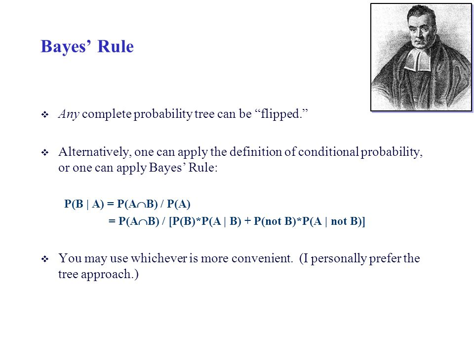 Bayes' Rule Any complete probability tree can be flipped.
