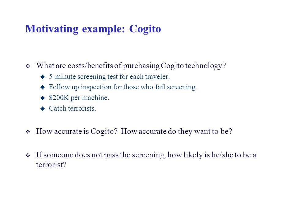 Motivating example: Cogito