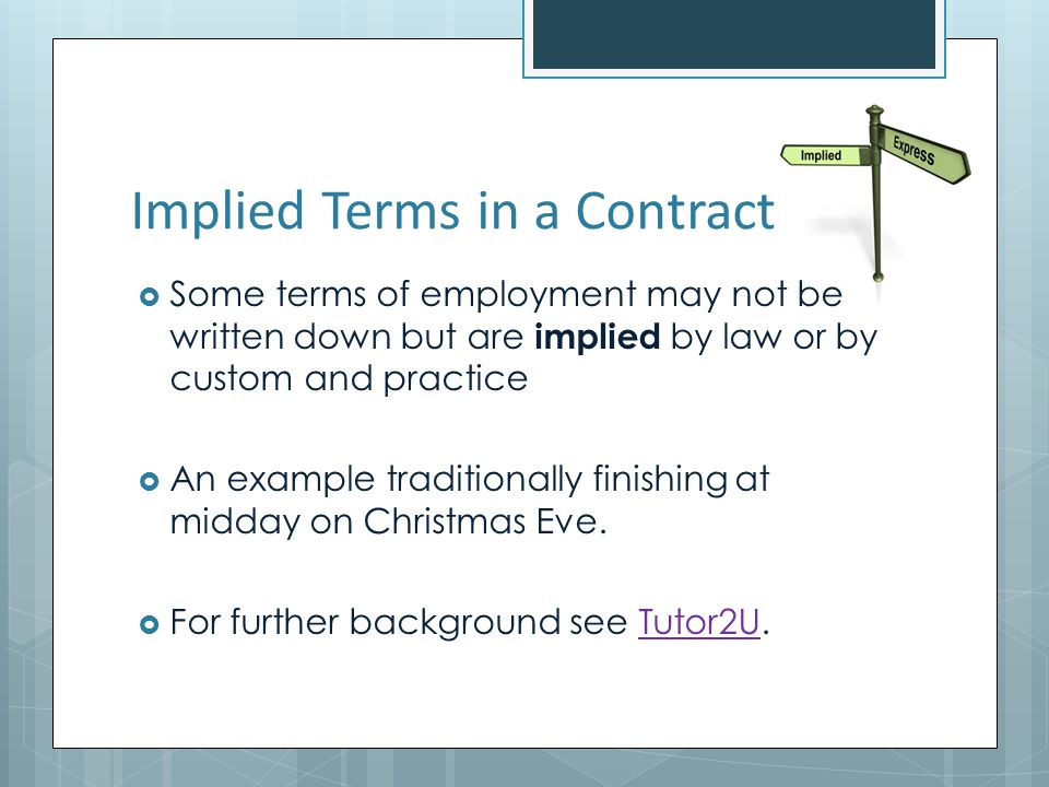 Implied Terms in a Contract