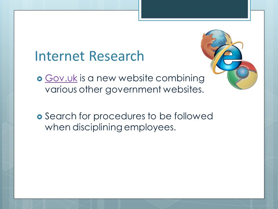 Internet Research Gov.uk is a new website combining various other government websites.