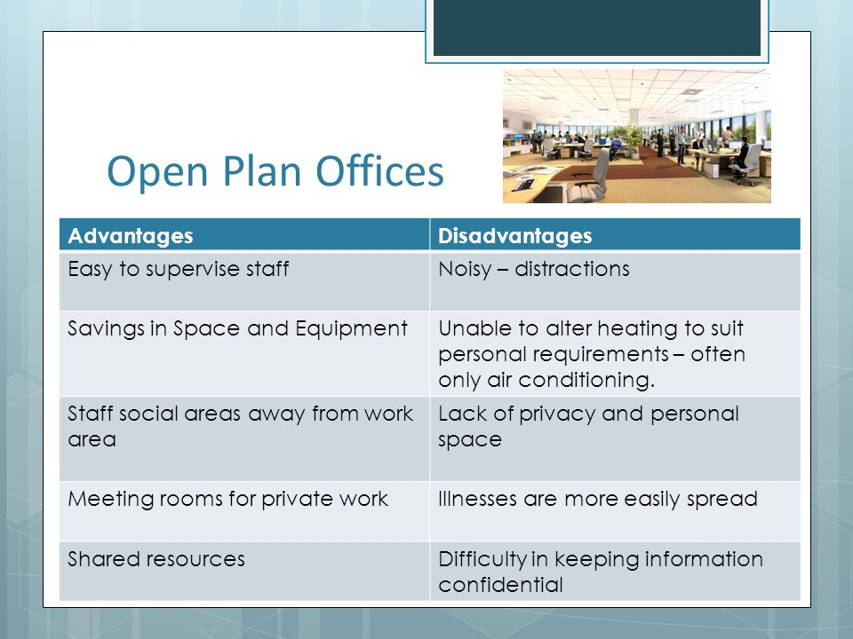 Open Plan Offices Advantages Disadvantages Easy to supervise staff