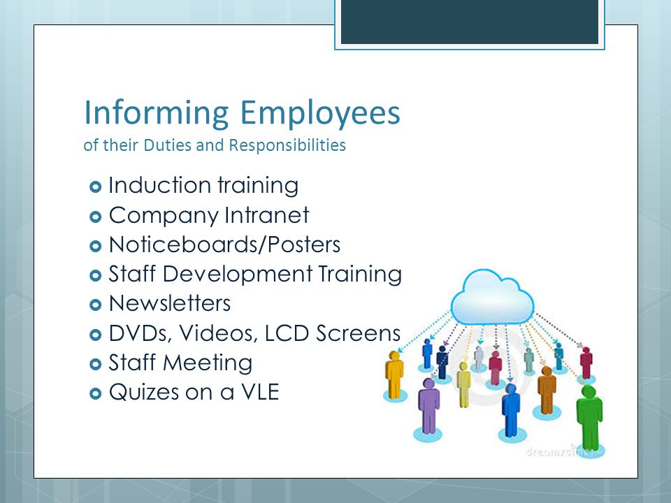 Informing Employees of their Duties and Responsibilities