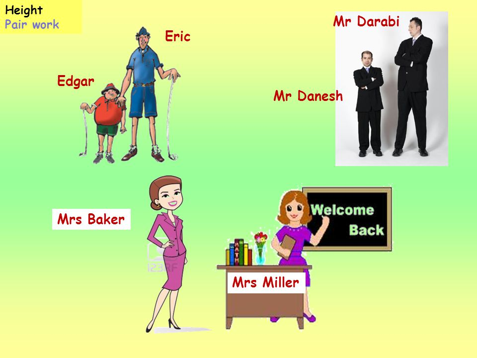 Height Pair work Mr Darabi Eric Edgar Mr Danesh Mrs Baker Mrs Miller