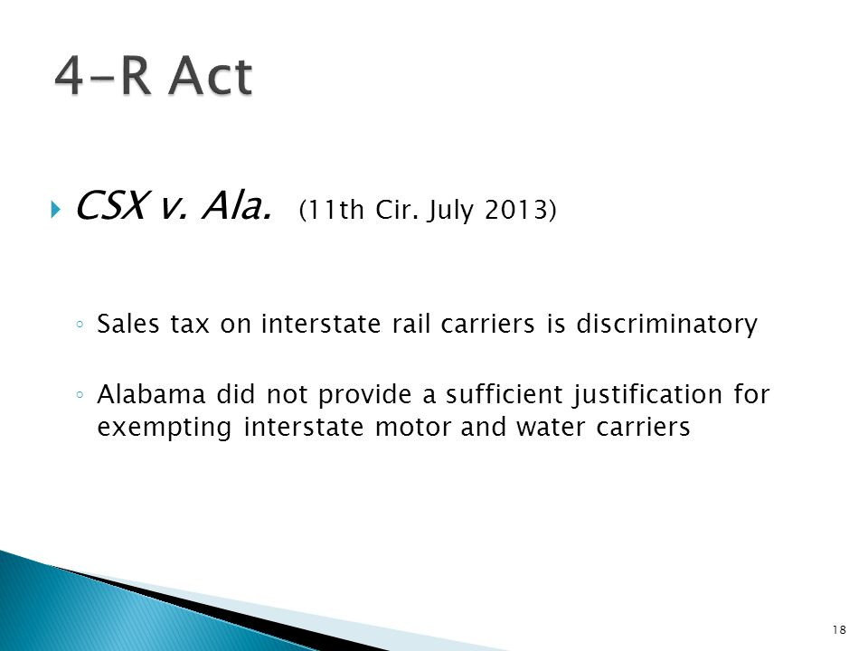 4-R Act CSX v. Ala. (11th Cir. July 2013)