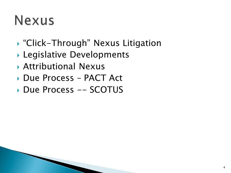 Nexus Click-Through Nexus Litigation Legislative Developments