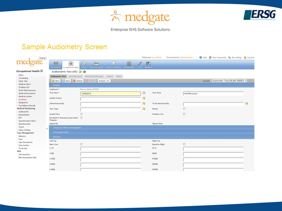 Sample Audiometry Screen