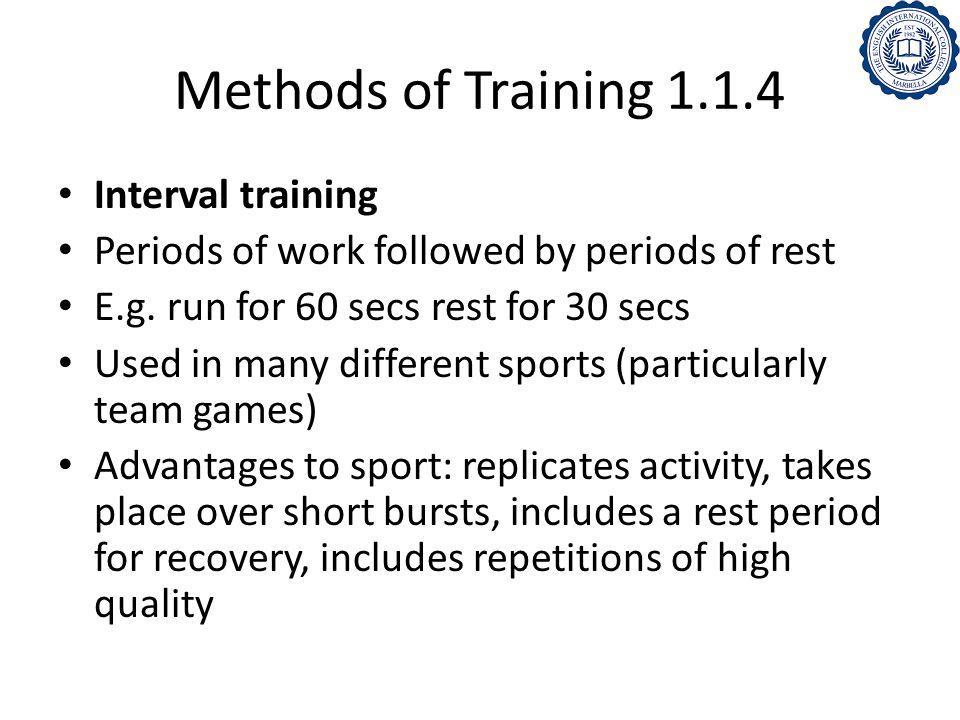 Methods of Training 1.1.4 Interval training