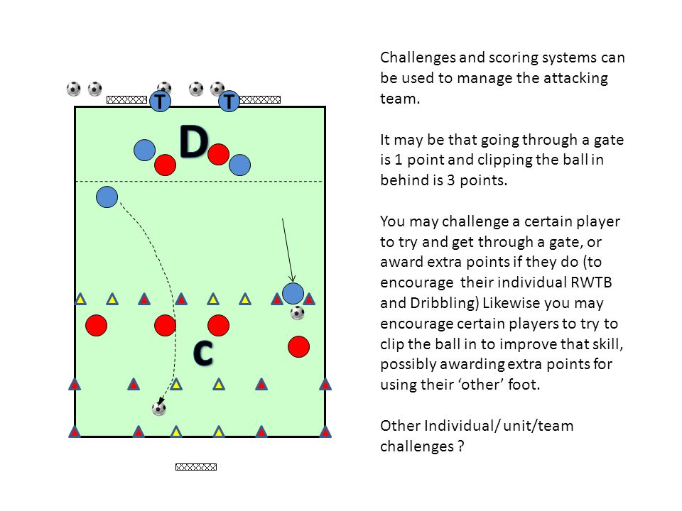 Challenges and scoring systems can be used to manage the attacking team.
