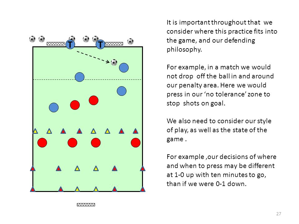 It is important throughout that we consider where this practice fits into the game, and our defending philosophy.