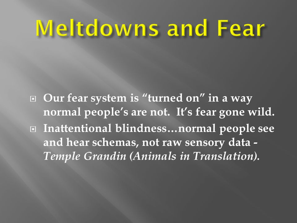Meltdowns and Fear Our fear system is turned on in a way normal people's are not. It's fear gone wild.