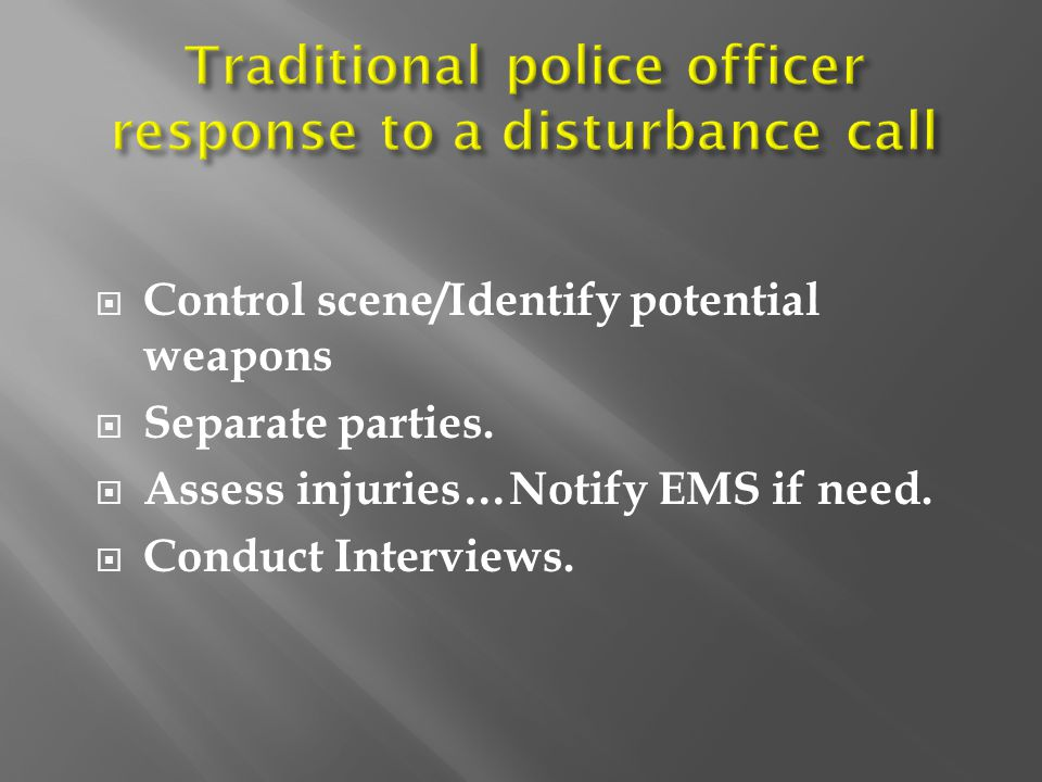 Traditional police officer response to a disturbance call