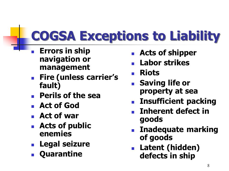 COGSA Exceptions to Liability