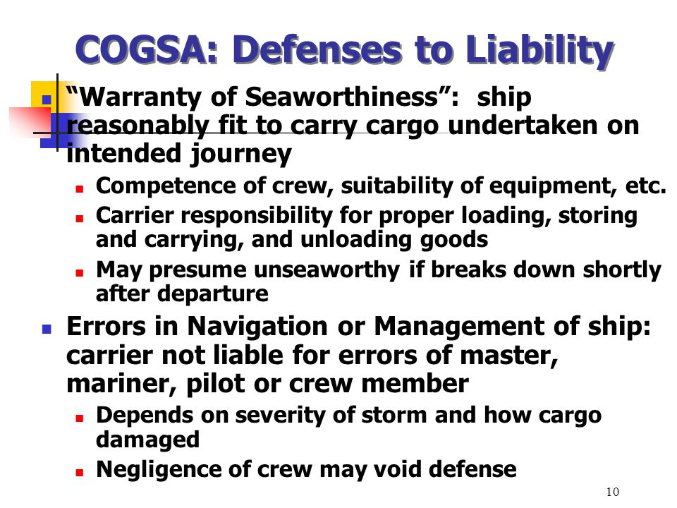 COGSA: Defenses to Liability