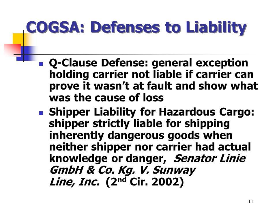 COGSA: Defenses to Liability